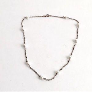 Vintage Pearl Station Necklace Sterling Silver 925